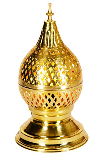 Oosterse messing tafellamp lamp Ishrat 34cm in goud | Marokkaanse tafellampen kleine lampenkap goudkleurig | klein bedlampje modern voor vintage retro & landelijke stijl design