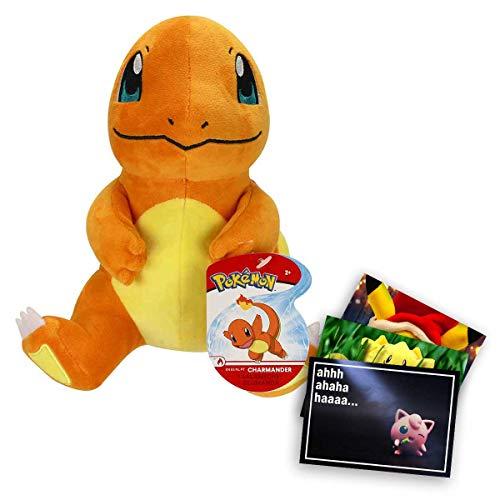 Lively Moments Pokemon Plüschtier ca. 20 cm / Kuscheltier / Plüschfigur sitzendes Glumanda / Charmander + Exklusive GRATIS Grußkarte
