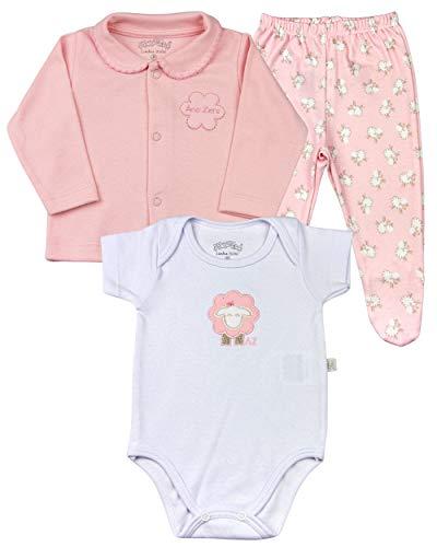 Conjunto Bebê Suedine Fio de Algodão Egípcio Estampa Digital Ovelhas - Rosa PP