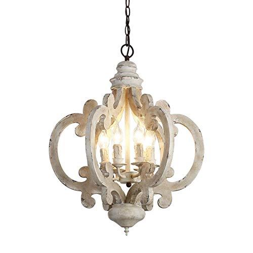 XUSHEN-HU Araña de Madera de Hierro Vintage Blanco Angustiado de 6 Ligeros, lámpara Colgante de Techo de Vela para Comedor, 17.7 x 24.4 Pulgadas lámpara Colgante