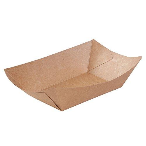 BIOZOYG Cuenco Tipo Barco de cartón con Recubrimiento orgánico para Aperitivos I vajilla desechable Biodegradable I Plato para Servir Salsas I Cuenco para Llevar 800 ml 500 Piezas