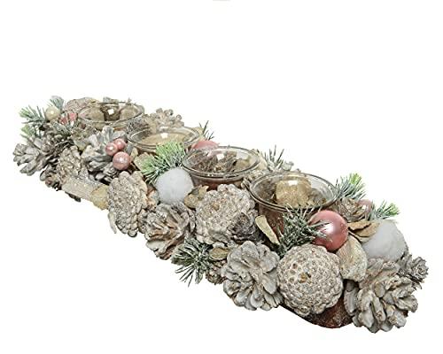 Corona de Adviento de 46 cm con vela de té de cristal con soporte de nieve, corona de Adviento alargada, color blanco y rosa