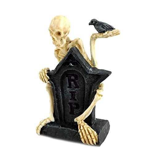 Melody Jane Miniatura Casa de Muñecas Halloween Macabre Tumba Cabeza Piedra con Esqueleto