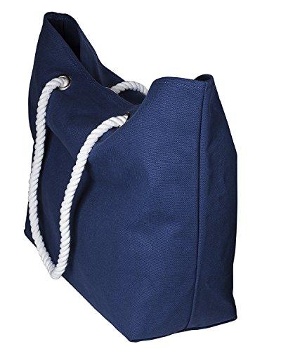 cecilia&bens Canvas Strandtasche XXL für die ganze Familie | geeignet für Stranddecke, großes Strandtuch | ideales Urlaub-Zubehör, Farbe:blau