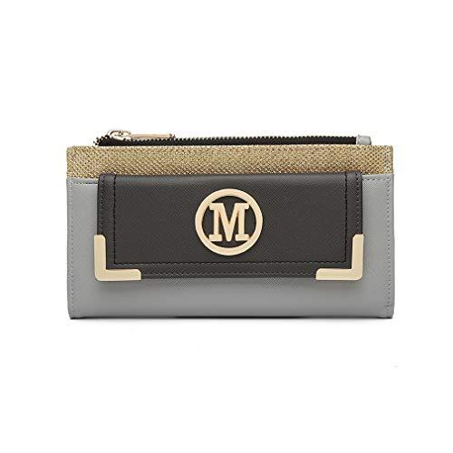 Miss Lulu Geldbörse Clutches LP6882 Kleine Tasche Geldbeutel M Logo Mini Damen Envelope 2018 Pu Leder Shopping Reise (Grau)