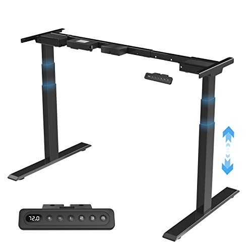 MAIDeSITe höhenverstellbarer elektrisher Schreibtisch mit 2 starken Motoren,3 teiligen Beinen sowie auch 4 Memory-Steuerung und Kollisionschutz Funktion(Weiß)(Schwarz)