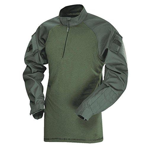 Tru-Spec - Camicia da Uomo Regular T.R.U. con Zip 1/4, Colore: Oliva Drab/Olive Drab, Taglia M