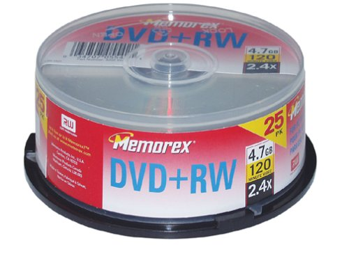 Memorex 4.7GB 2.4x DVD+RW (25 Pack Spindle) (Discontinued by Manufacturer)