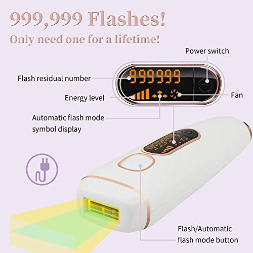 TUMAKOU Professional Permanent Facial Body Hair Removal System for Women and Men - Upgrade 999,999 Flashes Home Use Painless Hair Remover Device Epilator for Wholebody Use