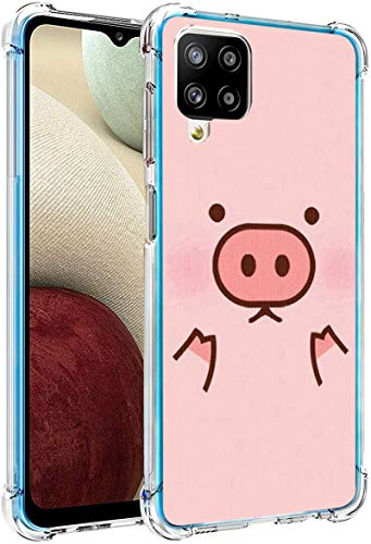 Pig Case for Samsung Galaxy A12,Gifun Hard PC+TPU Bumper Clear Protective Case Compatible with Samsung Galaxy A12 6.5' - Pink Cute Pig