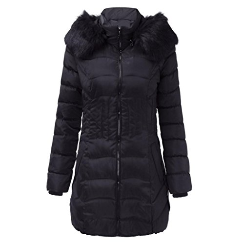 TUDUZ Damen Daunenjacke, Damen Jacke Lang Steppjacke Winterjacke Winter-Mantel mit Kapuze Trenchcoat (Schwarz, XL)