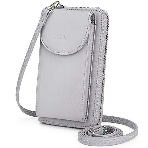 S-ZONE Monedero para Teléfono Celular para Mujer con Bloqueo RFID Bandolera de Cuero PU Pequeña Cartera para Teléfono Bolsa con Cremallera (Gris Claro)