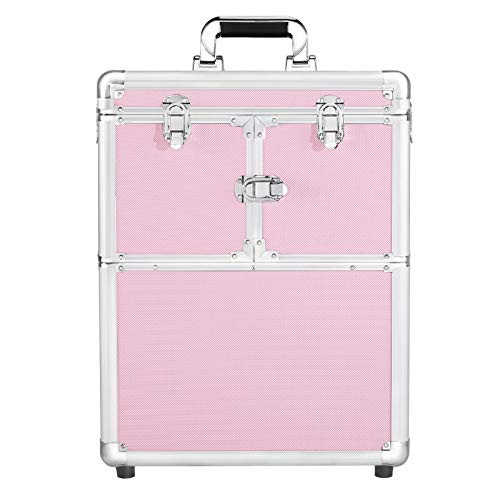 Yaheetech 2 in 1 Pro Aluminum Rolling Makeup Case Makeup Artist Travel Case Makeup Organizer Travel Pink
