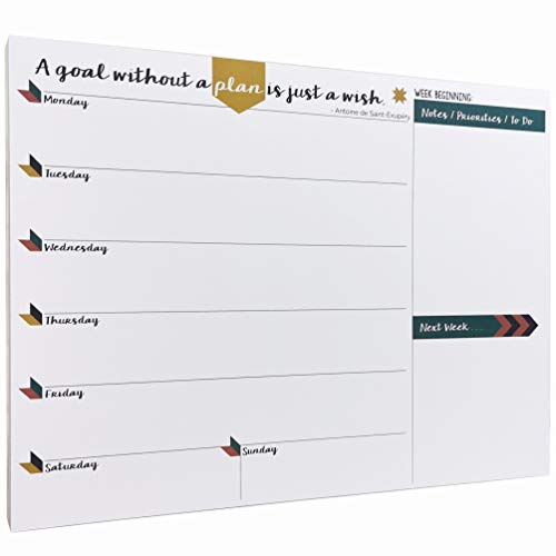 Tabitha Wilde A4 Weekly Planner Calendar Notepad 55 Sheets (White, Green)
