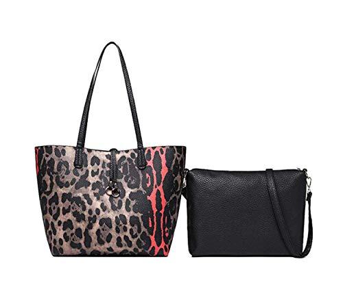 KOON Women's PU Leopard Print Handbag Elegant Shoulder Bags Fashion Totes Girl Bag 2PCS(Leopard Print)