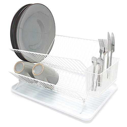 simplywire - Abtropfgestell für Geschirr, zusammenklappbar, mit Besteckhalter, Weiß
