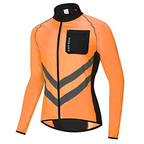 WOSAWE Veste de Cyclisme pour Hommes Femme Imperméable Légère Riding Course Manteau Haute Visibilité VTT Vêtements (BL218 Orange M)