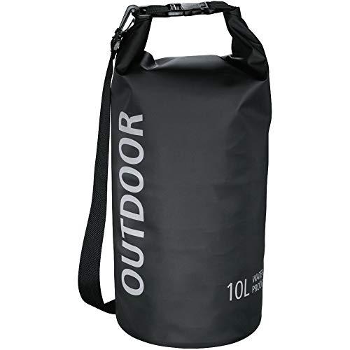 Hama wasserdichter Packsack, 10 l, Dry Bag mit Rolltop Verschluss, Schultergurt, (wasserdichter Seesack aus Tarpaulin, wasserfeste Outdoor Tasche für Rafting, Kajak, Camping) schwarz
