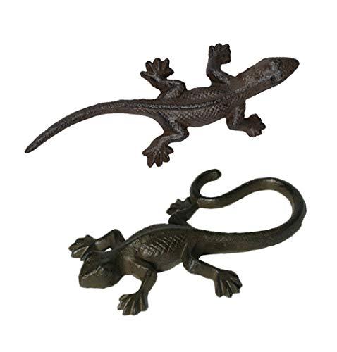 Dodo Eidechse 2er Set aus Gusseisen Salamander Gecko Echse Lurch Teich
