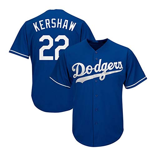 Kershaw Baseball Shirt Los Angeles Dodgers # 22, Herren Druck Baseball Trikot, Kurzarm Spiel Team Uniform Button Top (M-XXXL)-Blue-XXL