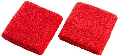 Atipick - Coppia di polsiere in Spugna di Cotone, Rosso, 7,5x7,5 cm