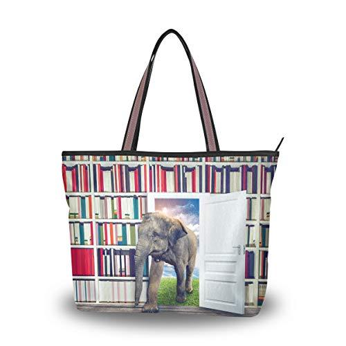 Ahomy Bolso de playa para mujer, diseño de elefante contra estante para...