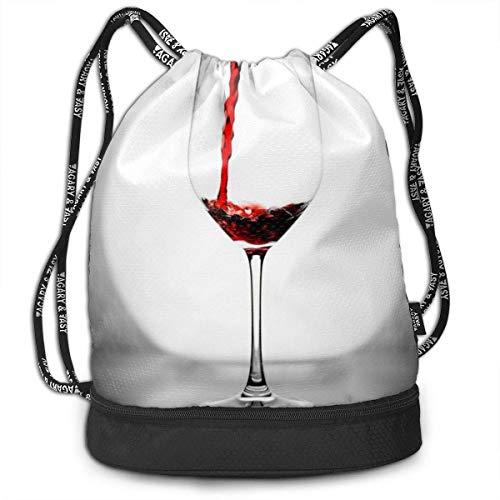 Leila Marcus Kordelzug-Rucksack, für Wein/Nachtlicht-Becher, zur Aufbewahrung für Fitnessstudio, Trelling, Wandern