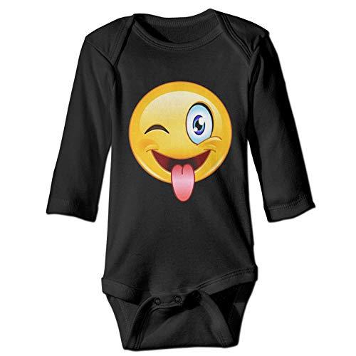 Onita Emotee Emoticon lindo rostro recién nacido niña niño niño bebé bebé manga larga camisa mameluco (18 m, negro)