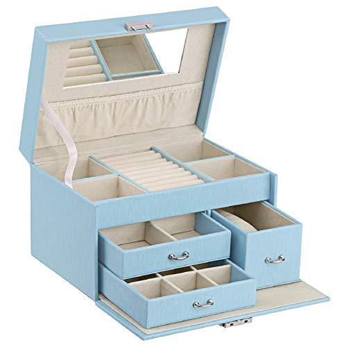 BEWISHOME 20 Section Girls Jewelry Box Jewelry Organizer with Lock Portable Jewelry Storage Case for Women Girls Kids Blue SSH78L