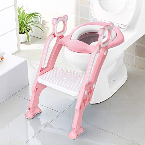 KEPLIN - Escalera de aprendizaje infantil para asiento de inodoro con escalón ancho antideslizante y cojín suave rosa rosa