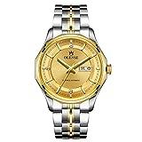 Relojes de negocios para hombres, relojes deportivos, relojes a prueba de agua hasta 5 ATM, relojes mecánicos de acero inoxidable para hombres, adecuados para uso en gold