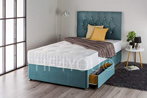 Home Furnishings UK Plush Divan Bed Set with 1000 pocket Sprung Mattress and Matching Diamante Headboard (4 Drawers) (4FT6 Double, Midnight Blue Plush)