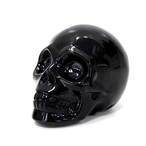 WindBell Skullis 3.5' Black Obsidian Crystal Skull, Hand Carved Crystal Healing Reiki Statue, Gemstone Skull Sculpture Fine Art