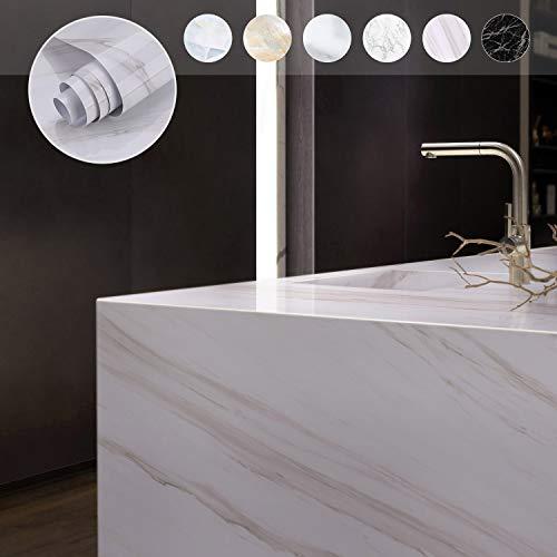 PVC Marmor Folie Klebefolie selbstklebend Möbelfolie 0.61 * 5M wasserfest Tapete für Wände, Türen, Möbel, Küchenschränke Aufkleber(Weiss)