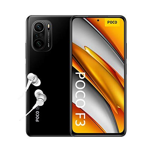 """POCO F3 5G - Smartphone 6+128GB, 6,67"""" 120 Hz AMOLED DotDisplay, Snapdragon 870, cámara triple de 48MP, 4520 mAh, Negro Nocturno (versión ES/PT), incluye auriculares Mi"""
