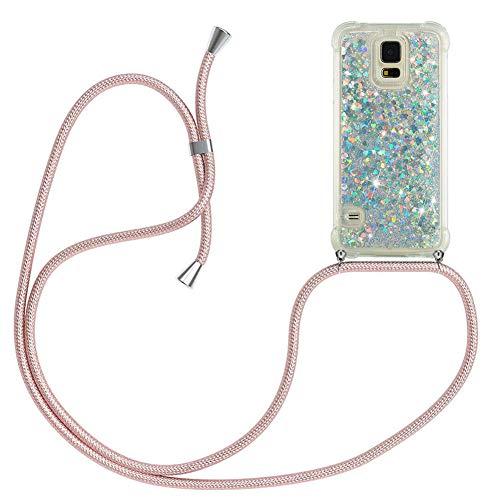 Mkej Flüssig Treibsand Handykette Kompatibel mit Samsung Galaxy S5 Glitzer Handyhülle, TPU Silikon Clear Back Cover mit Glitter Flüssigkeit Smartphone Necklace Schutzhülle - Roségold