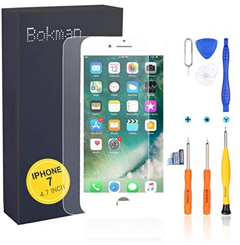 bokman Schermo Display LCD per iPhone 7 Bianca, Touch Screen Digitizer Parti di Ricambio con Strumenti di Riparazione