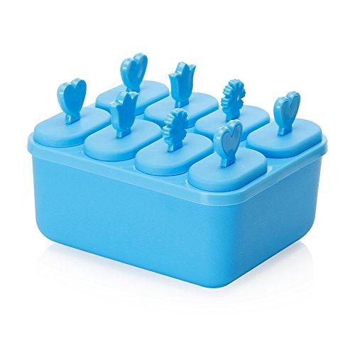 Contever® mignon Moule à Glace Set de 8 Moules de Crème Glacée Popsicle avec carré bol --Bleu
