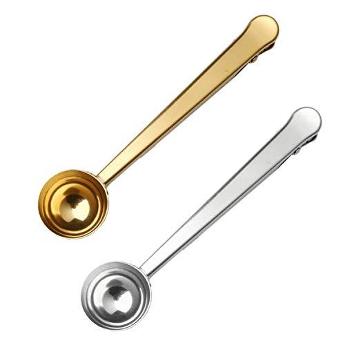 Bayda - Cucharilla de café con clip (2 en 1, acero inoxidable, cuchara dosificadora de café con junta de bolsa, grapa), color plateado y dorado