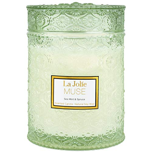 LA JOLIE MUSE Sea Mint & Spruce Scented Candle, Large Jar Candle Gift, Candle Gift for Holiday, Wood...