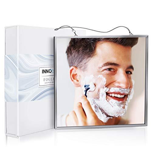 INNObeta Duschspiegel Beschlagfrei groß für Rasur & Gesichtsreinigung, Spiegel Dusche Rasieren (17cmx17cm), Einfach zu Verwenden,Bruchsicheres Glas, 2 Ketten Inbegriffen, Gut Verpackt