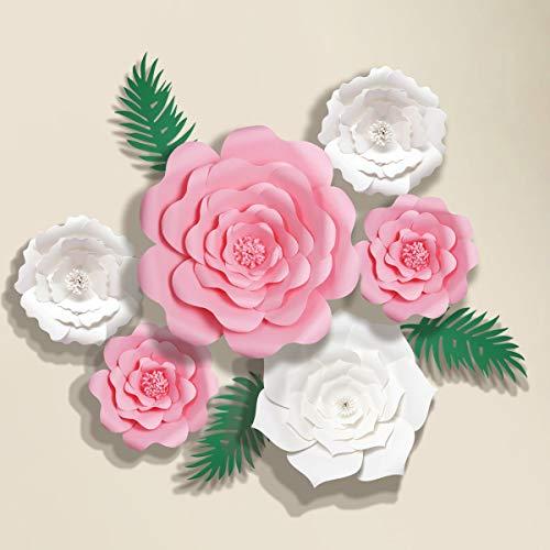 decalmile 6 Piezas Flores de Papel DIY Decoración para Bebés Guardería Niñas Cumpleaños Fondo Boda(Rosado,...