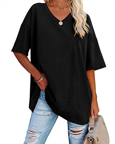 Ebifin Women's Oversized T Shirts Tees Half Sleeve V Neck Comfy Cozy Cotton Tunic Tops
