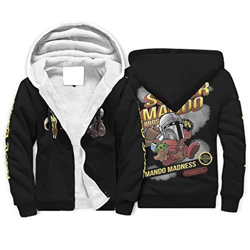 Super Mando Bros Yoda - Sudadera con capucha para hombre, forro de sherpa con cremallera completa, cálida, resistente al viento, para exteriores, suave y acogedora, para Halloween