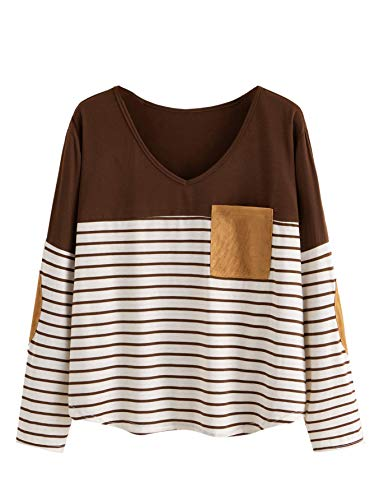 Milumia Women's Elbow Patch Tops Striped Round Neck Color Block Casual T Shirt Brown XX-Large Plus