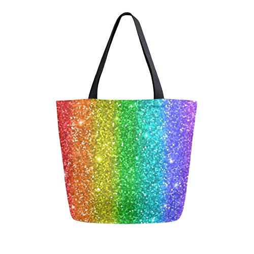 JinDoDo Canvas Bag Rainbow Glitter Star Reusable Tote Bag Women Handbag for Shopping Travel Beach School