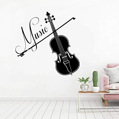 Música vinilo violín música para estudio de grabación pegatinas de pared