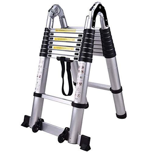 WLABCD Ladders Telescopische Ladder Opvouwbare 2,5 M + 2,5 M Draagbare Aluminium Legering Telescopische Ladder, Multifunctionele Intrekbare Rechte Ladder, Verstelbare Ladder, 2,5 M+2,5 M