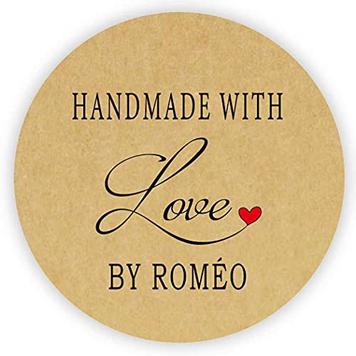 MameArt 50 pcs 4cm Pegatinas Personalizadas Handmade with Love Nombre, Hecho a...