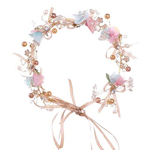 GerTong Diadema hecha a mano con nudo de lazo de flores, tocado...